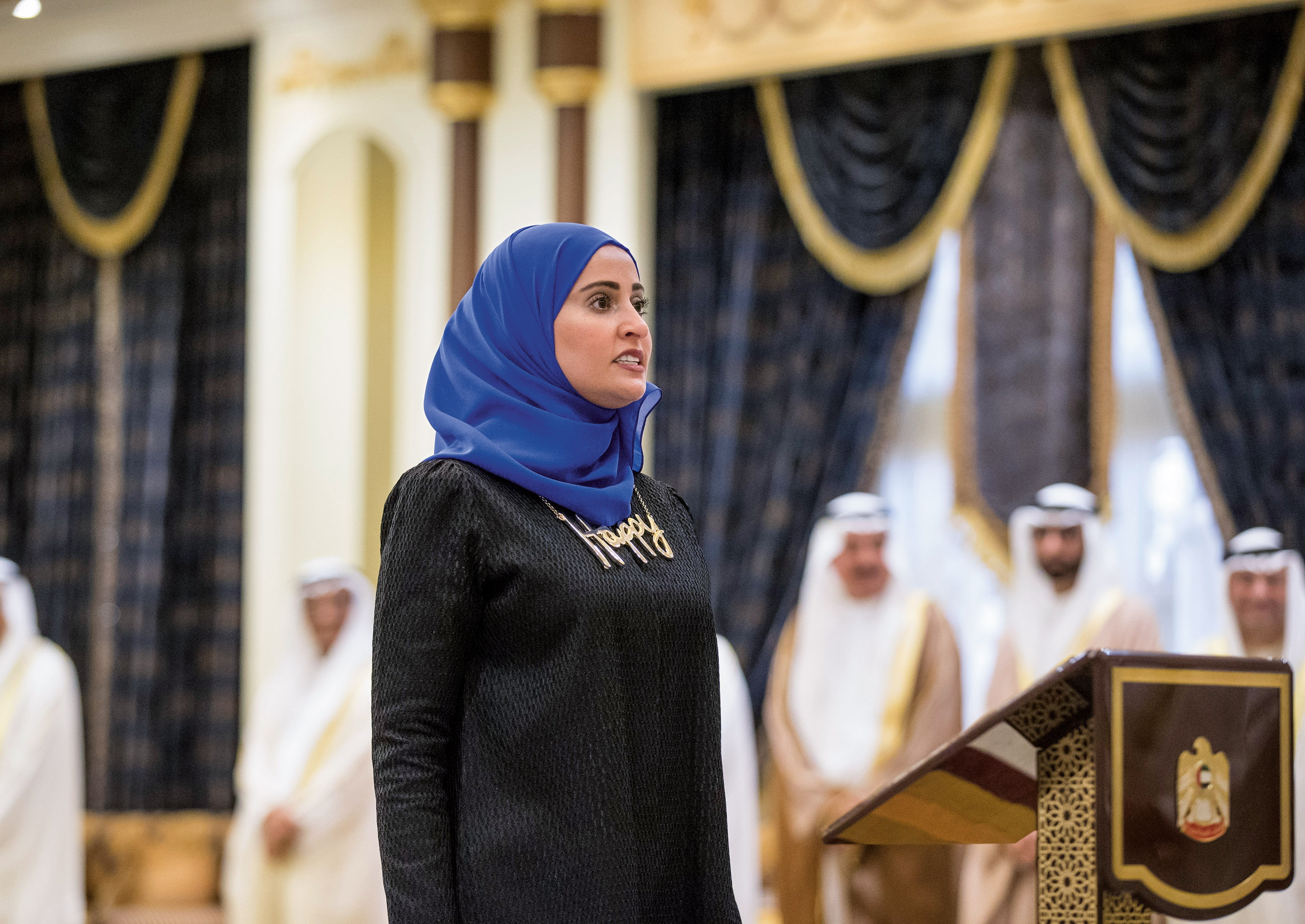 (HEADER)-Ohood-Al-Roumi,-UAE-Minister-of-State-for-Happiness,-giving-an-oath,-2016